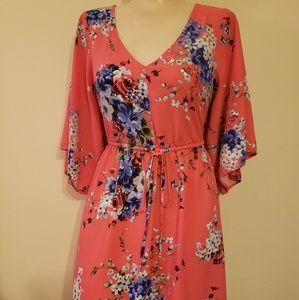 Torrid Pink&Blue Flowered Swing Dress
